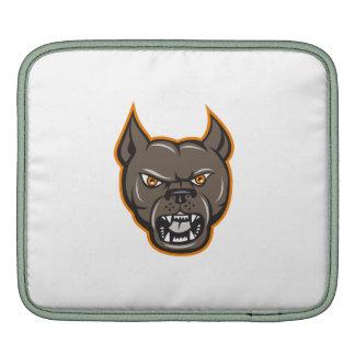 Pitbull Dog Mongrel Head Angry Cartoon Sleeve For iPads