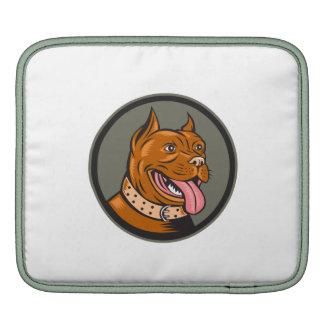 Pitbull Dog Mongrel Head Circle Woodcut Sleeves For iPads