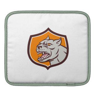Pitbull Dog Mongrel Head Shield Cartoon iPad Sleeve