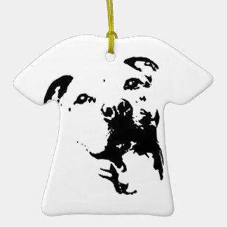 Pitbull Dog Double-Sided T-Shirt Ceramic Christmas Ornament