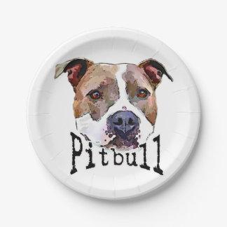 Pitbull Dog Paper Plate