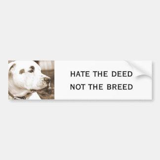 pitbull dog sepia color hate deed not breed bumper sticker