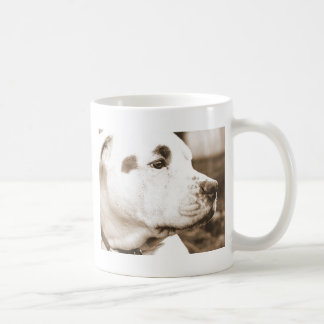 pitbull dog sepia color hate deed not breed coffee mug