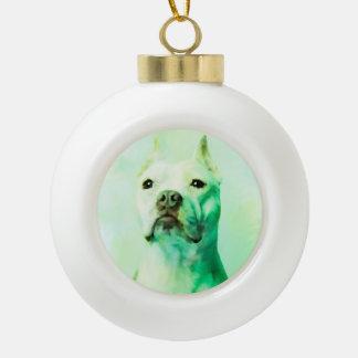 Pitbull Dog Water Color Portrait Art Ceramic Ball Christmas Ornament