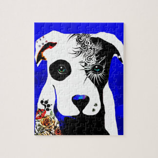 Pitbull dog with tattoos and piercings jigsaw puzzle