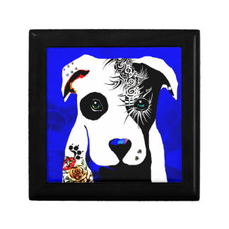 Pitbull dog with tattoos and piercings keepsake box