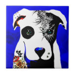 Pitbull dog with tattoos and piercings small square tile