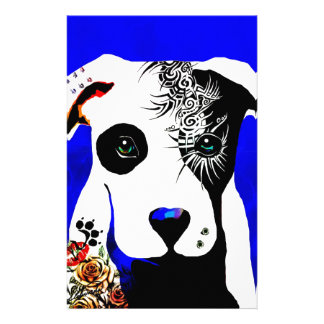 Pitbull dog with tattoos and piercings stationery