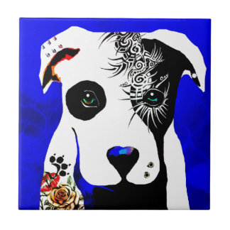 Pitbull dog with tattoos and piercings tile