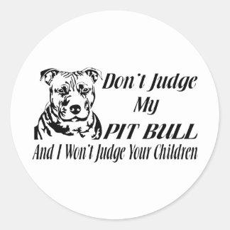 PITBULL DON'T JUDGE CLASSIC ROUND STICKER