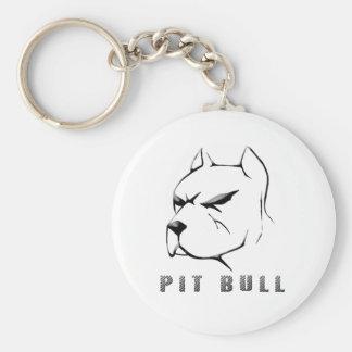 Pitbull draw basic round button keychain