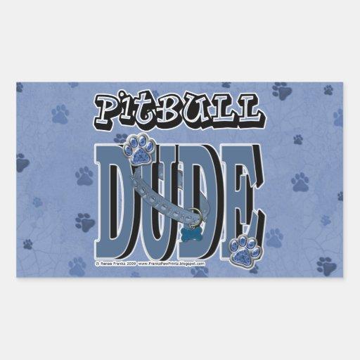 Pitbull DUDE Rectangular Sticker