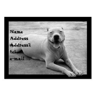 Pitbull en tarjeta de visita blanco y negro