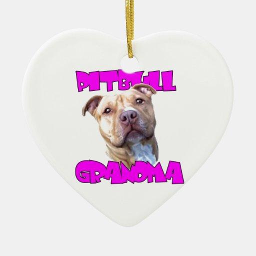 Pitbull Grandma Double-Sided Heart Ceramic Christmas Ornament