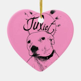 Pitbull Illustration Double-Sided Heart Ceramic Christmas Ornament
