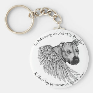 pitbull basic round button keychain