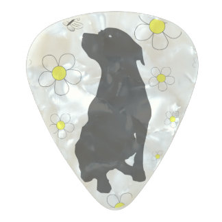Pitbull Love And Daisies With Butterfly Pearl Pic Pearl Celluloid Guitar Pick