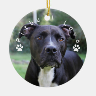 Pitbull Love Custom Picture Ceramic Ornament