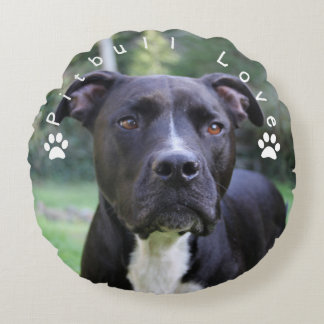Pitbull Love Custom Picture Round Pillow