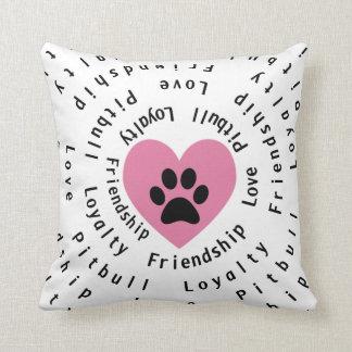 Pitbull Love Friendship Loyalty Swirl Throw Pillow