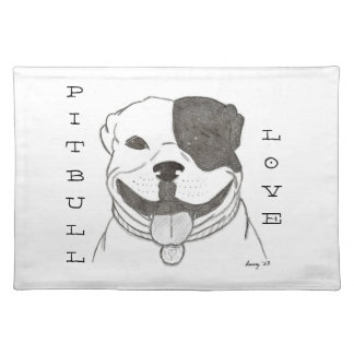 Pitbull Love Placemat Cloth Placemat