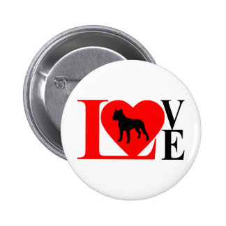 PITBULL LOVE RED AND BLACK BUTTON