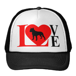 PITBULL LOVE RED AND BLACK TRUCKER HAT