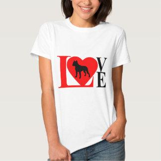 PITBULL LOVE RED AND BLACK T-SHIRT