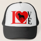 PITBULL LOVE RED AND BLACK TRUCKER HAT