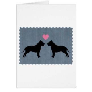Pitbull Love Silhouette Card