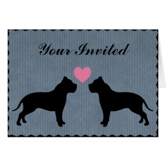 Pitbull Love Wedding Party Card