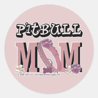 Pitbull MOM Classic Round Sticker