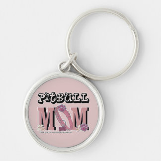 Pitbull MOM Silver-Colored Round Keychain