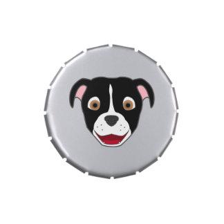 Pitbull negro con el resplandor jarrones de caramelos
