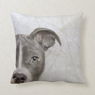 Pitbull original painting print by Miart Throw Pillow