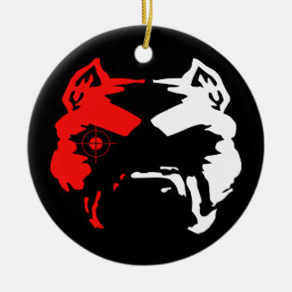 Pitbull Double-Sided Ceramic Round Christmas Ornament