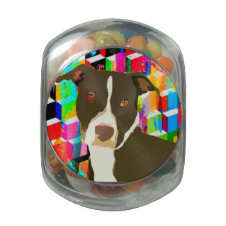 Pitbull Portrait Pop Art Glass Jars