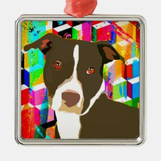 Pitbull Portrait Pop Art Metal Ornament
