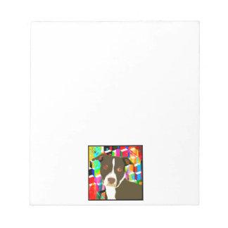 Pitbull Portrait Pop Art Notepad