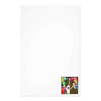 Pitbull Portrait Pop Art Stationery