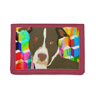Pitbull Portrait Pop Art Tri-fold Wallets