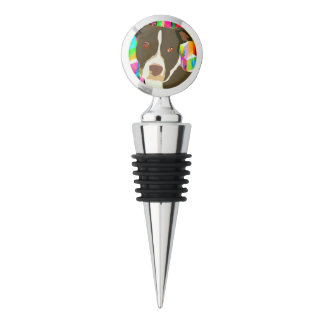 Pitbull Portrait Pop Art Wine Stopper