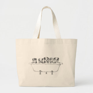 Pitbull Puppies In the Tub - Illustration Tote Bag
