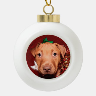 Pitbull puppy Christmas Ceramic Ball Christmas Ornament