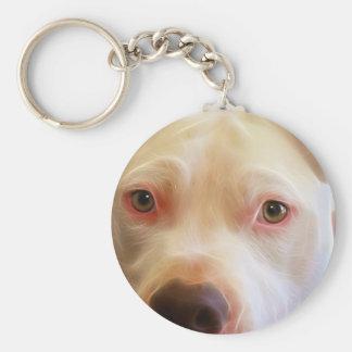 Pitbull Puppy Dog Eyes Art Photography Keychain
