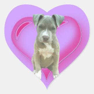Pitbull puppy heart sticker