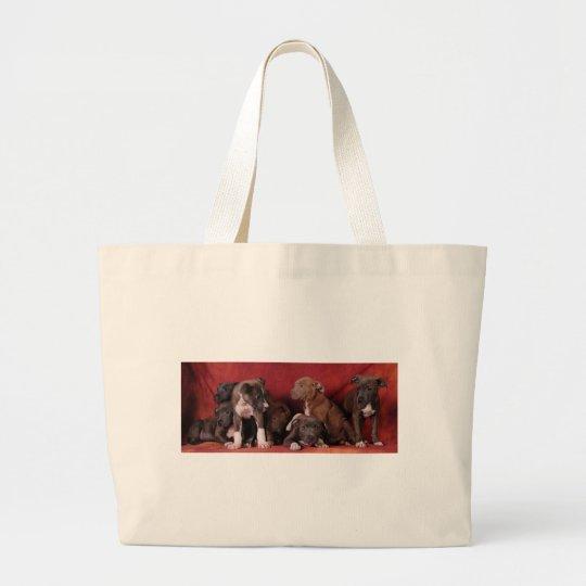 Pitbull puppy heaven large tote bag