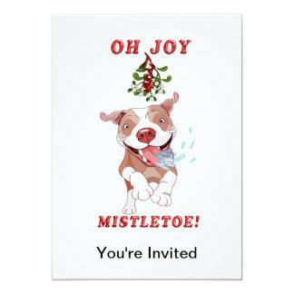 Pitbull que corre al muérdago de Navidad Invitación 12,7 X 17,8 Cm