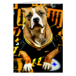 Pitbull Rescue Dog Football Fanatic Card