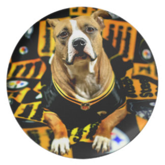 Pitbull Rescue Dog Football Fanatic Dinner Plate